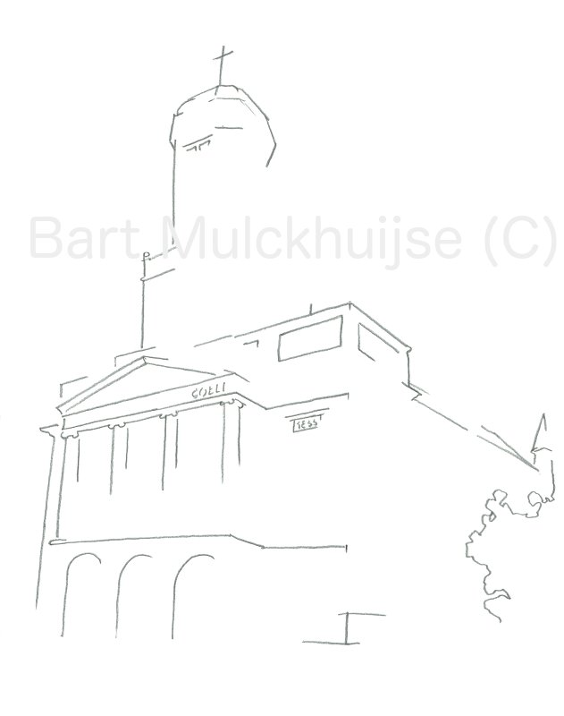 Tekening van de Hartebrugkerk in Leiden.