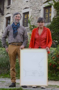 Jean-Paul en Hélène met tekening van La Ferme du Phaux.