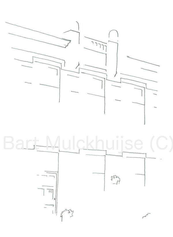 Tekening van huis aan de Da Costastraat in Leiden