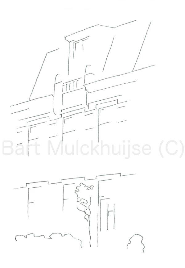 Tekening van woning aan de Da Costastraat in Leiden