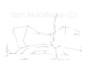 """Nieuw: tekening van het bedrijfsgebouw van Astellas, het """"Mirai House""""."""