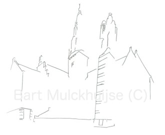 Tekening van het Stadhuis vanaf het Stadhuisplein