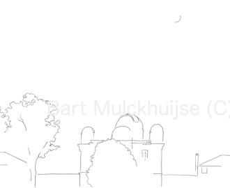 Tekening van de Sterrenwacht aan de Witte Singel