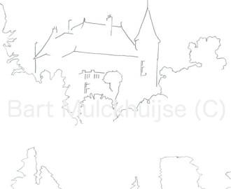 """Tekening van de villa op """"Ons Eiland"""" - Leiden"""