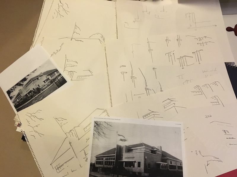 """Ontwerpschetsen voor tekening in opdracht van de """"School met den bijbel"""" in Voorschoten"""