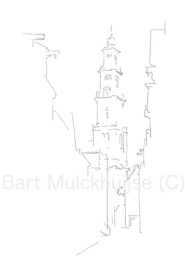 westertoren-amsterdam-jordaan-tekening
