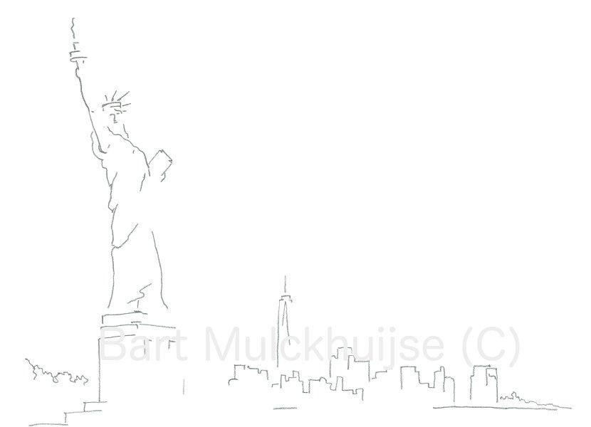 Vrijheidsbeeld met de skyline van Manhattan - New York
